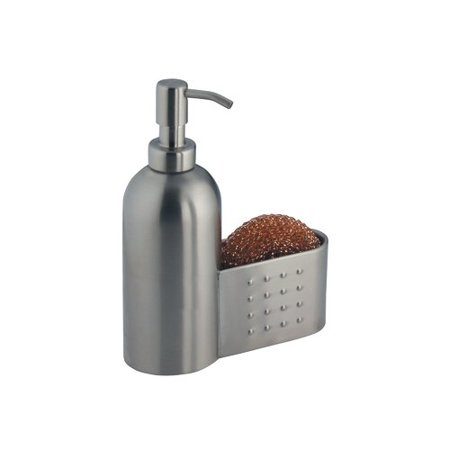 InterDesign Forma Kitchen Countertop Stainless Steel Soap Dispenser Pump  and Sponge & Scrubby Caddy Organizer- Brushed