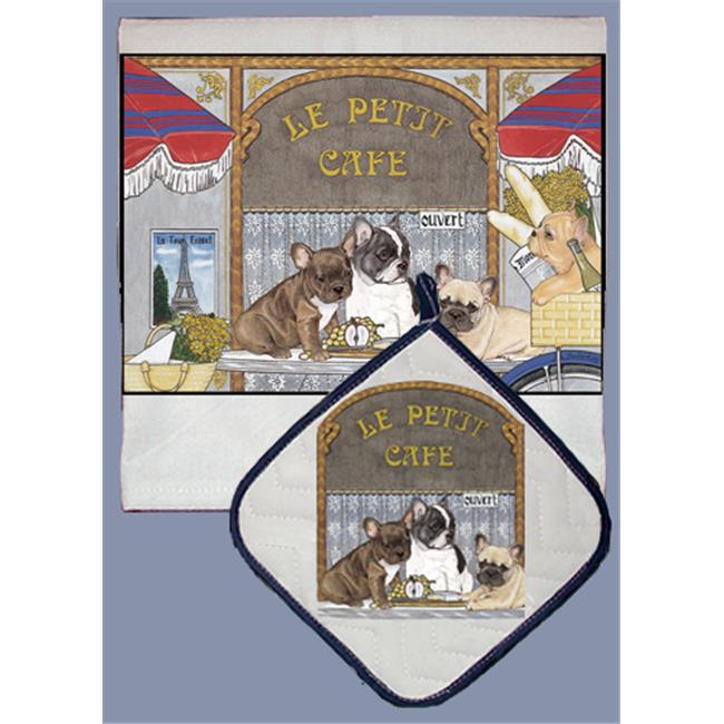 Pipsqueak Productions DP971 Dish Towel and Pot Holder Set - French Bull Dog