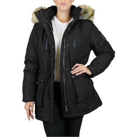 GBH Women's Heavyweight Tech Parka Jacket With Fur Hood (S-3XL) Coyote Fur Parka