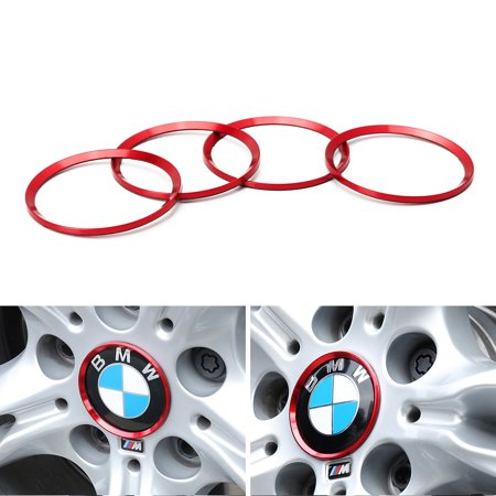 iJDMTOY (4) Anodized Red Aluminum Wheel Center Cap Surrounding Ring Decoration Trims For All BMW 68mm Center Caps (Bmw Center Caps)