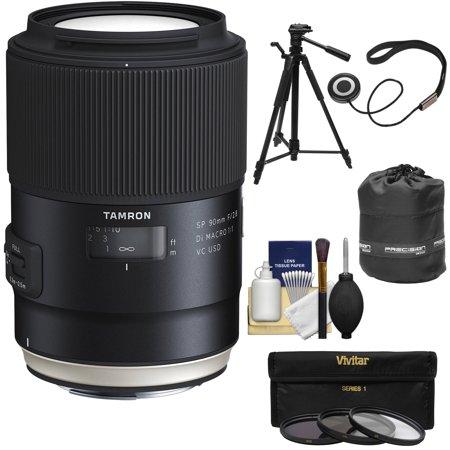 Tamron SP 90mm f/2.8 Di VC USD Macro 1:1 Lens + 3 Filters + Pouch + Tripod Kit for Canon EOS 6D, 7D, 70D, 80D, 5DS, 5D Mark II III, Rebel T5, T5i, T6, T6i, T6s, (Best Macro Lens For Canon 7d Mark Ii)