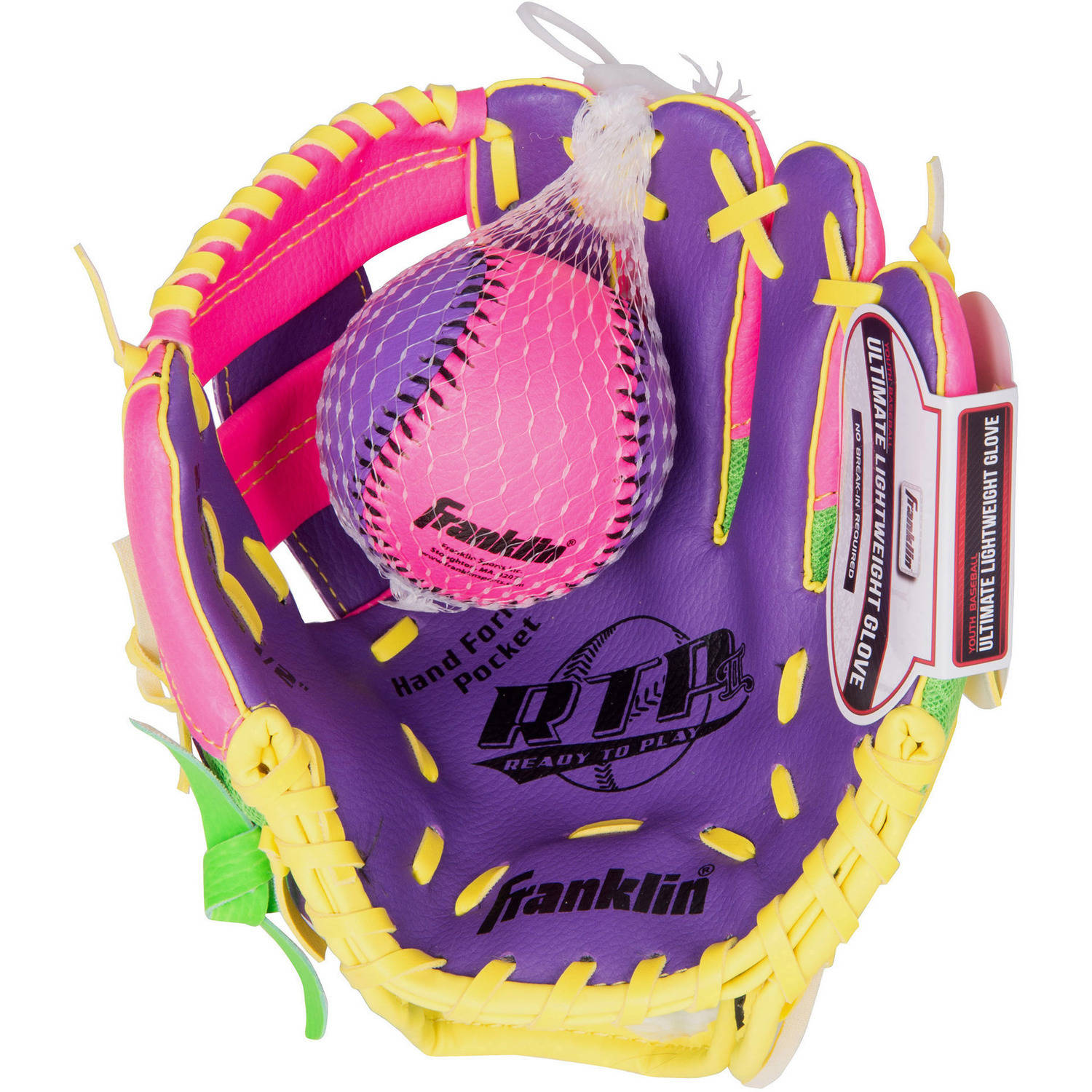 "Franklin Sports 9.5"" Tee Ball Recreational Glove with Ball, Purple/Lime/Yellow, Right-Handed Thrower"