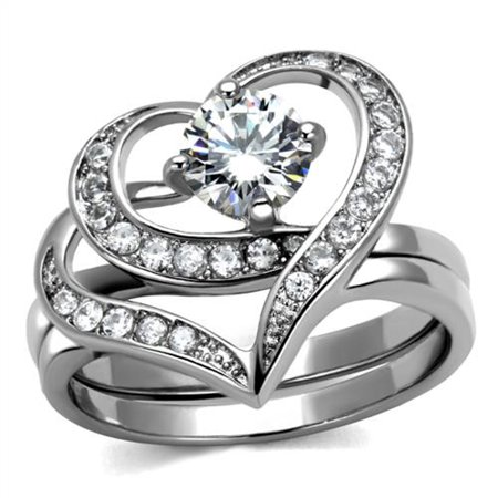 Two Hearts Set (Women's 1.2 Ct Round Cut Cz 2 Piece Heart Shape Stainless Steel Wedding Ring)