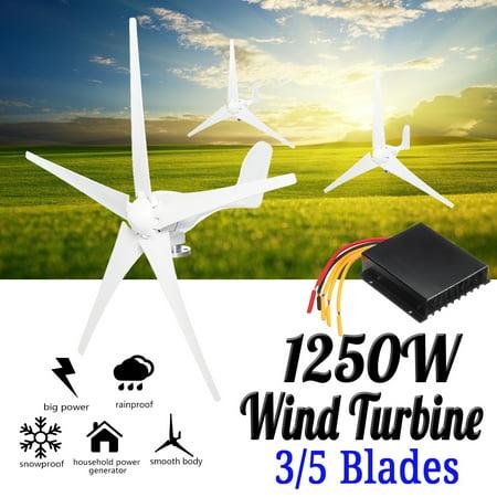 Wind Turbine Generator, Max 1250W Wind Turbine Generator DC 12V/24V 3 / 5 Blade For (Best Generator For Wind Turbine)