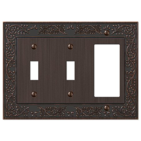 French Garden Double Toggle Switch and Single GFCI Decora Rocker Wall Plate Cover Combo, Oil Rubbed