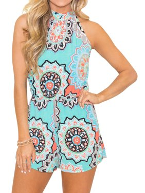 d6b723846 Product Image Starvnc Women Crew Neck High Waist Sleeveless Floral Romper  Jumpsuit