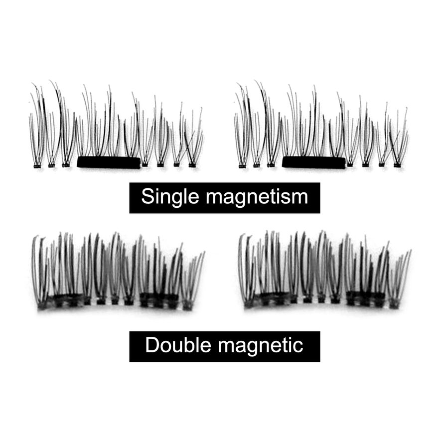 4PCS/SET Lightweight Natural Thick Eye Lashes 3D Magnetic False Eyelashes