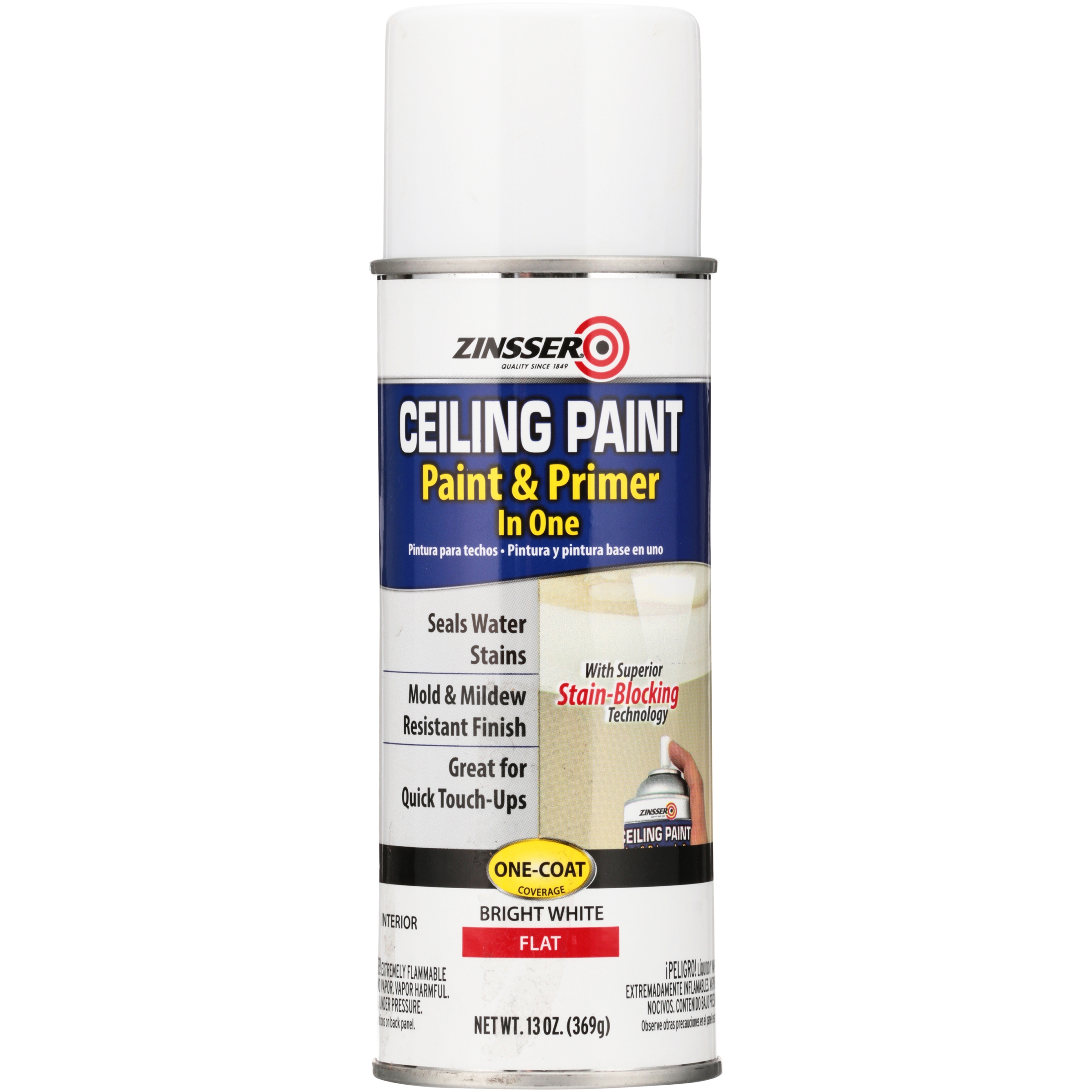 Zinsser® Bright White Flat Interior Paint & Primer in One Ceiling Spray Paint 13 oz. Aerosol Can