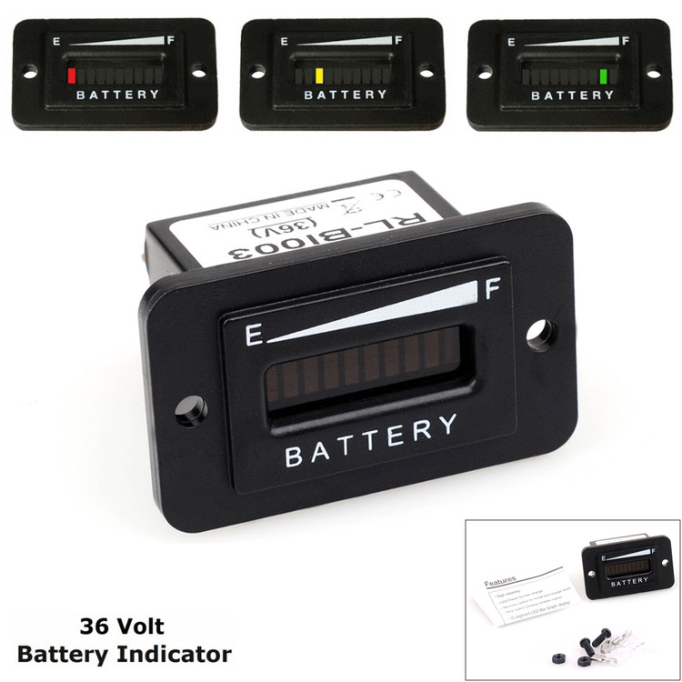 36V LED Lead-Acid Battery Indicator Meter Gauge for Golf Cart Trucks RV Boats
