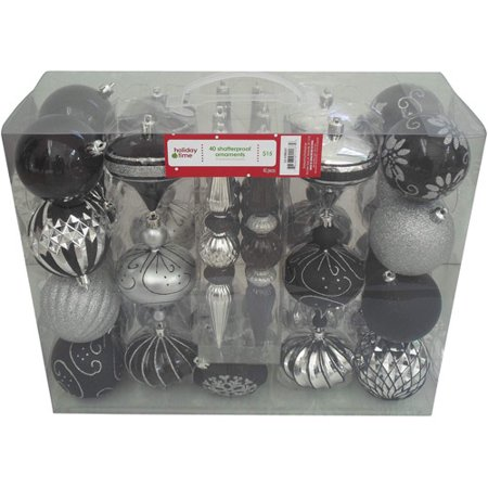 Holiday Time 40 Count Shatterproof Christmas Ornament Set Black