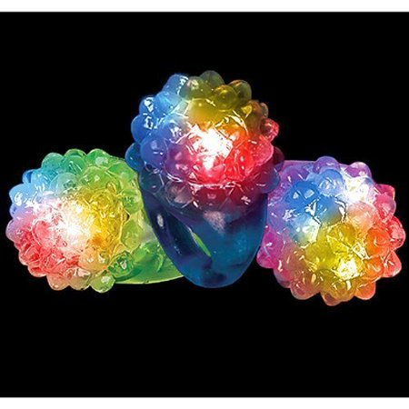 Light Up Ring (Hours of Flashing Fun! PartyLovers LED Light up Jelly Bumpy Rings Cool Light up fun for the entire family! By Fun Central -24 Pk Assorted)