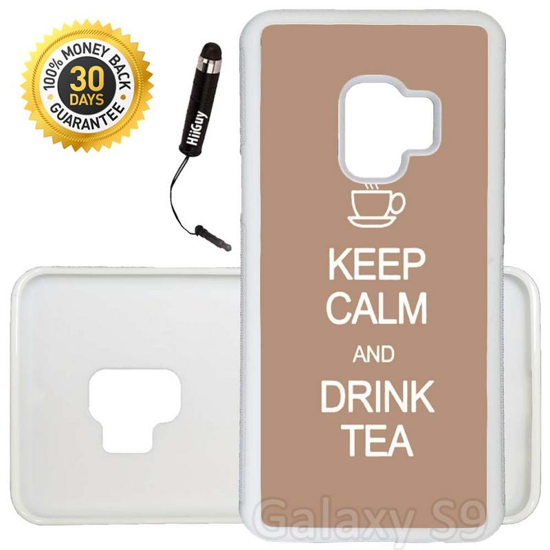 Custom Galaxy S9 Case (Keep Calm Drink Tea) Edge-to-Edge Rubber White Cover Ultra Slim | Lightweight | Includes Stylus Pen by Innosub