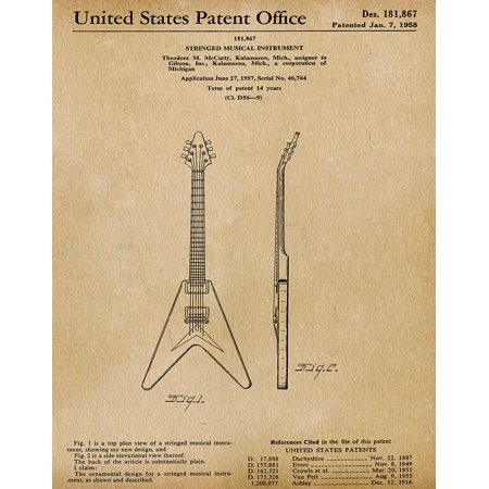 Original Gibson Guitar Artwork Submitted In 1958 - Music - Patent Art Print