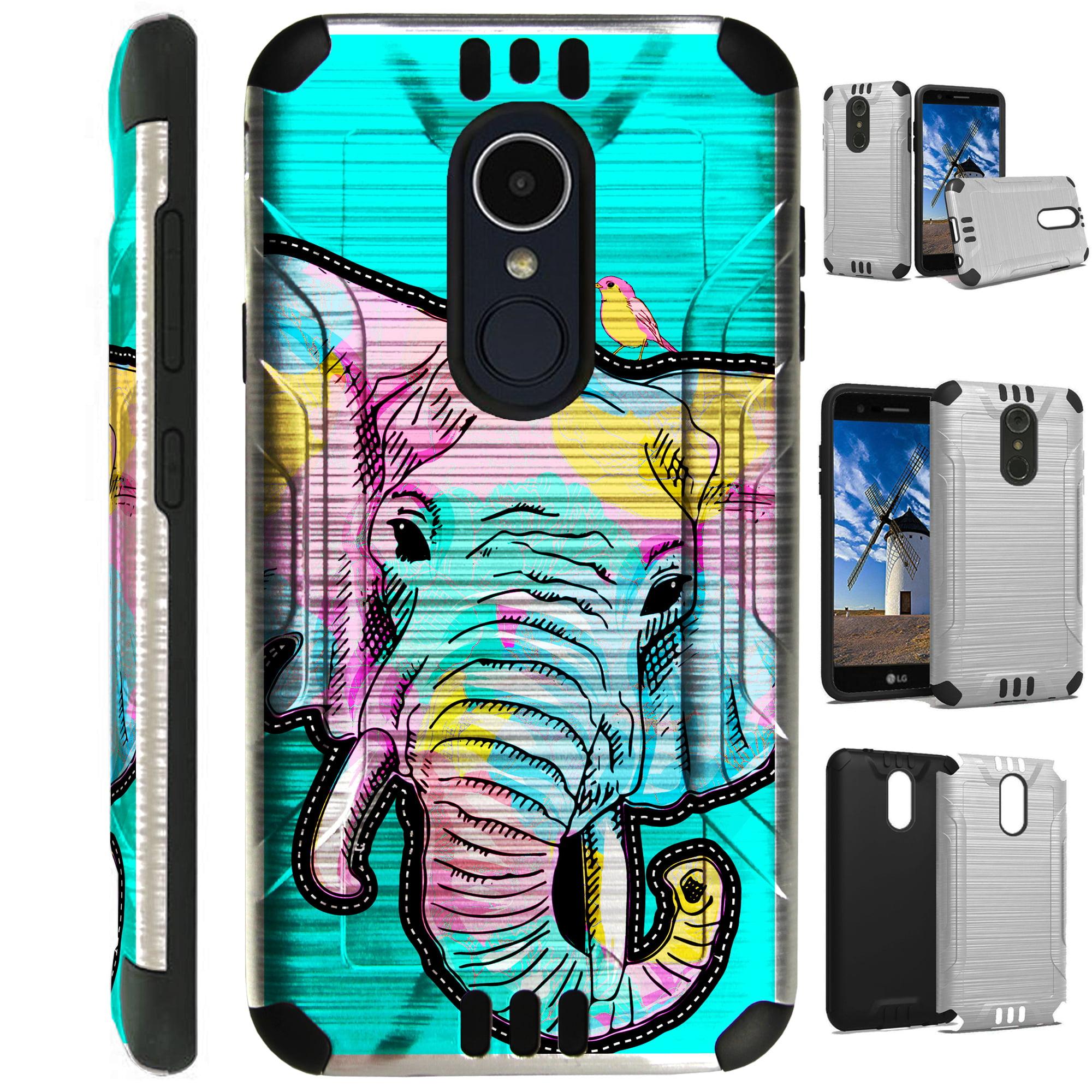 For LG Rebel 3 | LG Rebel 4 Case Brushed Metal Texture Hybrid TPU Silver Guard Phone Cover (Teal Elephant)
