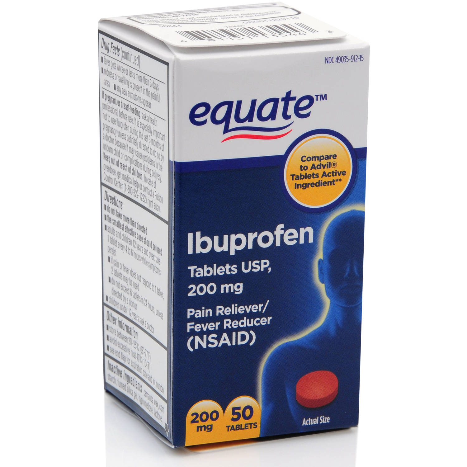 Equate Pain Relief Ibuprofen Tablets, 200 mg, 50 Ct