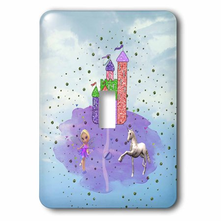 Fairy Princess Glitter - 3dRose Glitter Look Castle with Fairy Princess and Unicorn, 2 Plug Outlet Cover