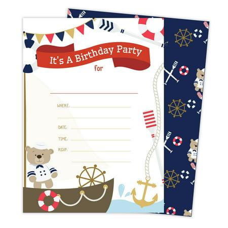 Nautical Birthday Invitations (Nautical Style 2 Happy Birthday Invitations Invite Cards (25 Count) with Envelopes & Seal Stickers Boys Girls Kids)