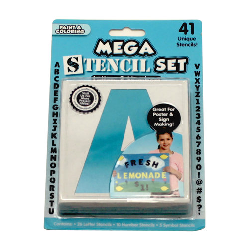 Mega Block Letter Stencil Set, 41 Piece