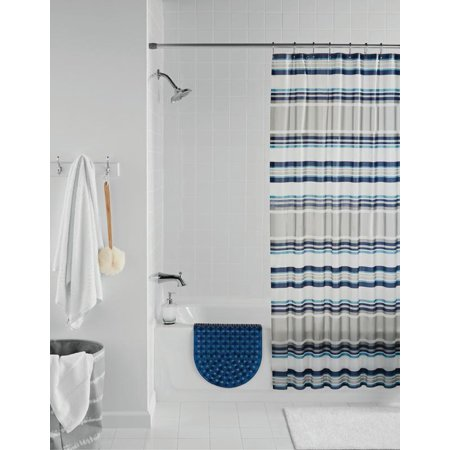 Mainstays Navy Stripe Shower Curtain Set, 14 Piece