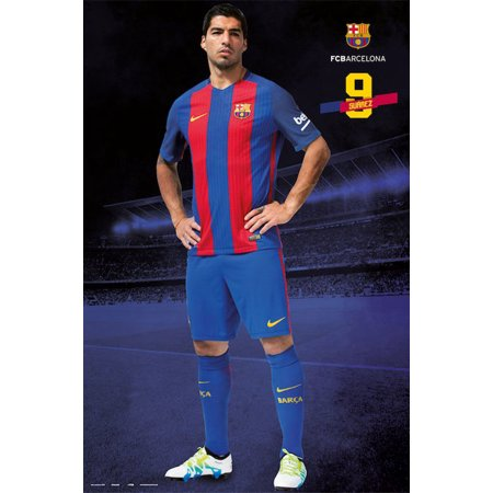 FC Barcelona - Soccer Poster / Print (Suarez #9 - Standing - 2016/2017) (Size: 24