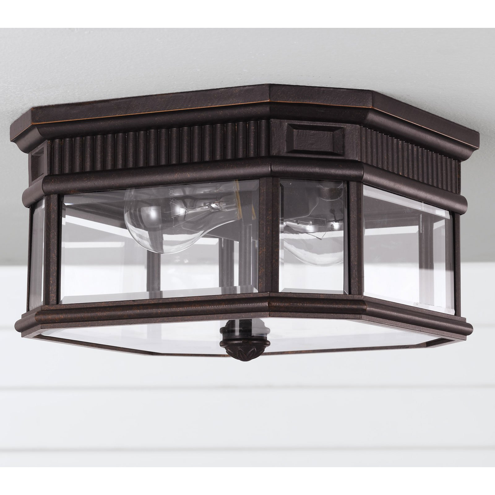 Feiss Cotswold Lane Outdoor Ceiling Light - 6.5H in. Grecian Bronze