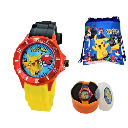 Pikachu Gifts (Pokemon Pikachu Unisex Silicone Quartz Analog Wrist Watch For Kids Children . Modern)