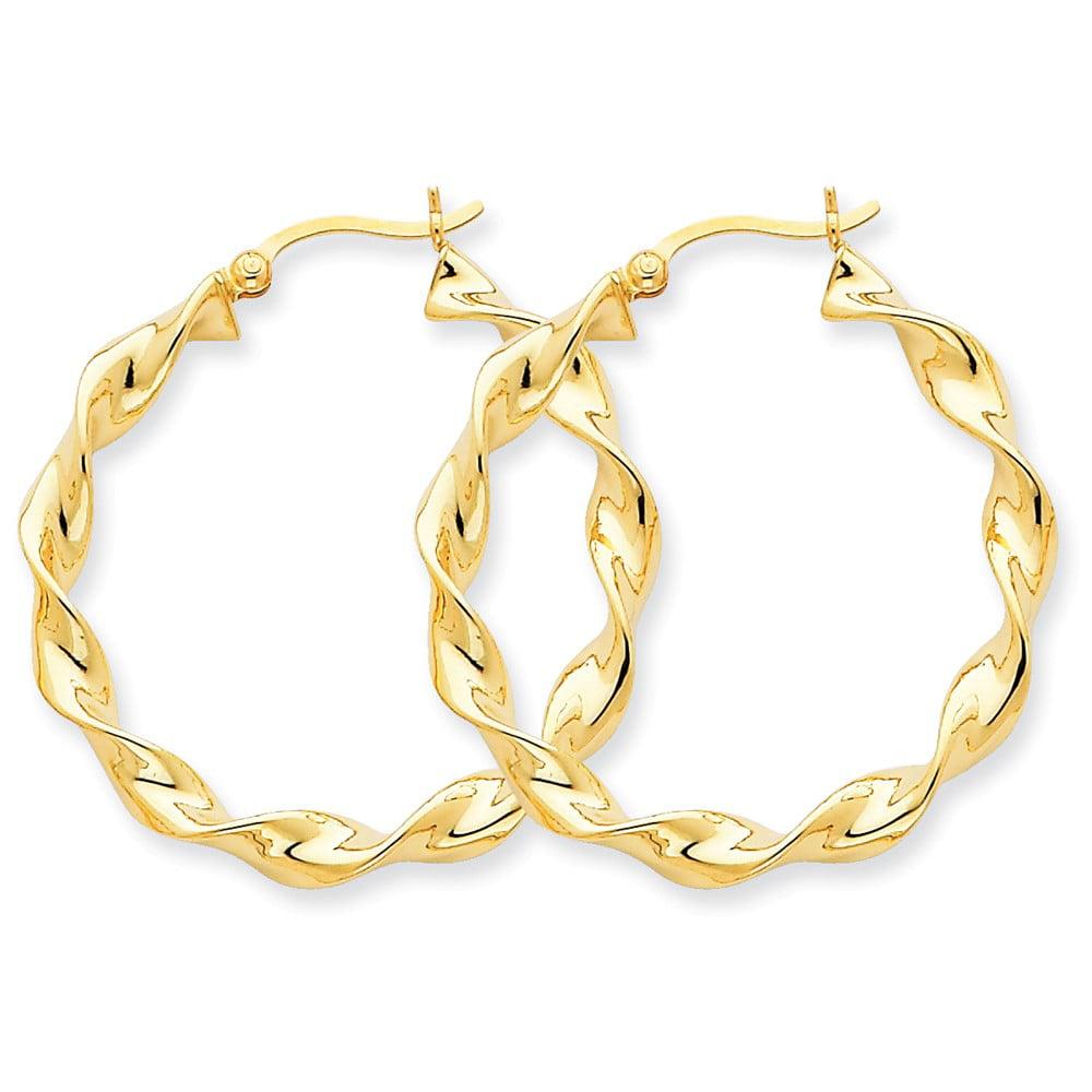 14k Yellow Gold 4.00mm Twisted Hoop Earrings. Length 35mm x Width 30mm.