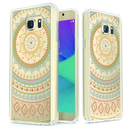 Samsung Galaxy Note 5 Mandala Case - True Color Clear-Shield Mandala Lace Printed on Clear Back - Perfect Soft and Hard Thin Shock Absorbing Dustproof Full Protection Bumper Cover - Green / Teal - Galaxy Laces