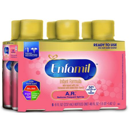 Enfamil A.R. Infant Formula for Spit Up, Ready to Use, 8 fl oz Bottles, 6 Pack (Enfamil Ar)