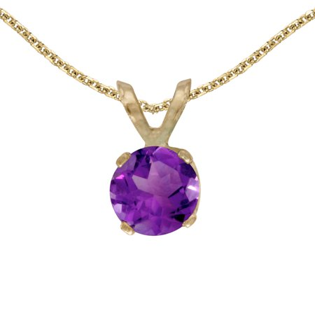14k Yellow Gold 5 mm Round Amethyst Pendant with 18