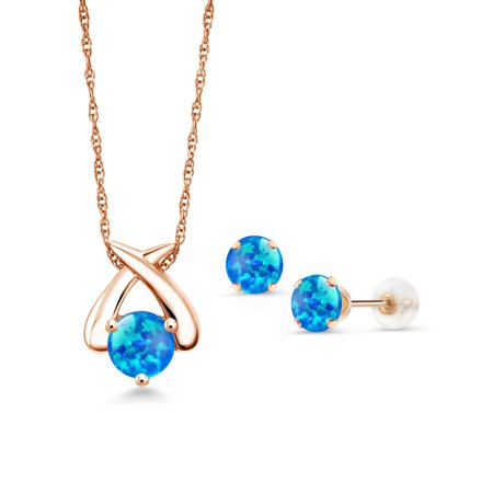 1.75 Ct Round Cabochon Blue Simulated Opal 10K Rose Gold Pendant Earrings Set (Pendant Earrings Set)
