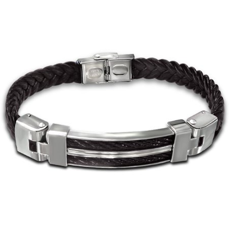 Brown Leather Cord Bracelet - Men's Stainless Steel and Brown Leather Cord Bracelet, 9