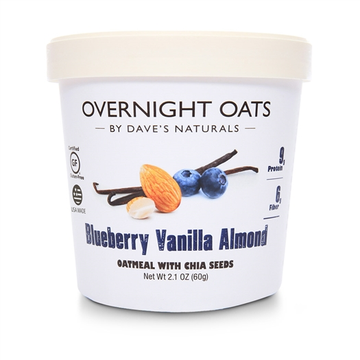 Dave's Gourmet Blueberry Vanilla Almond Overnight Oats 2.1 oz Cup - Pack of 8
