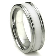 Titanium Kay Tungsten Carbide White Ceramic Inlay Wedding Band Ring with Horizontal Satin Finish Sz 10.0