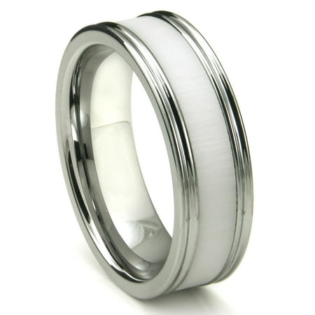 Tungsten Carbide White Ceramic Inlay Wedding Band Ring w/ Horizontal Satin Finish Sz