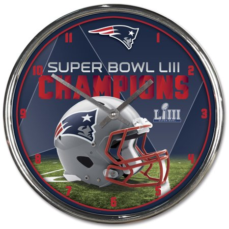 Wincraft Clock - New England Patriots WinCraft Super Bowl LIII Champions Chrome Wall Clock - No Size