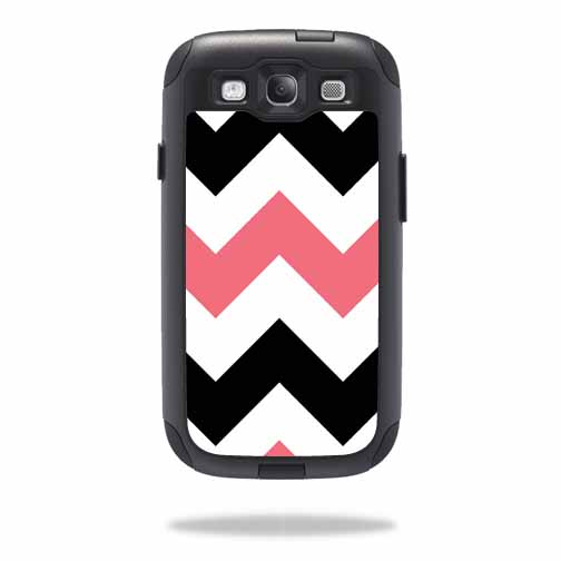 Mightyskins Protective Vinyl Skin Decal Cover for OtterBox Commuter Samsung Galaxy S III S3 Case wrap sticker skins Black Pink Chevron