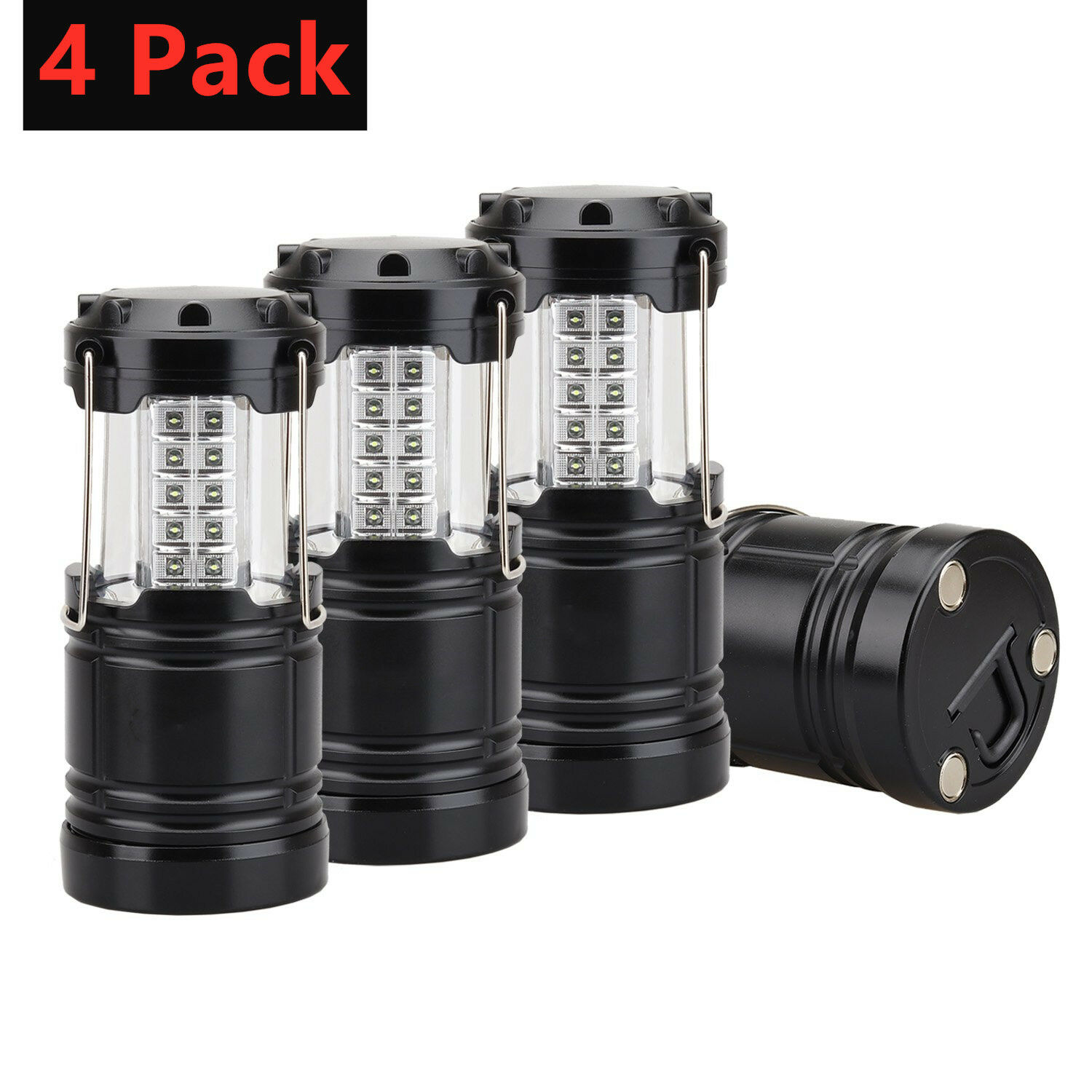 4 Pack Portable Outdoor Collapsible Camping Lantern 30 LED Bright Tent Lamp
