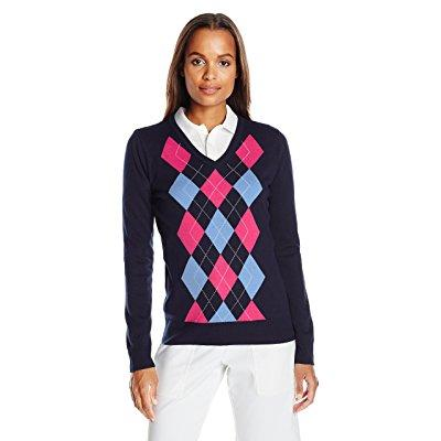 Callaway women's golf performance argyle printed sweater,...