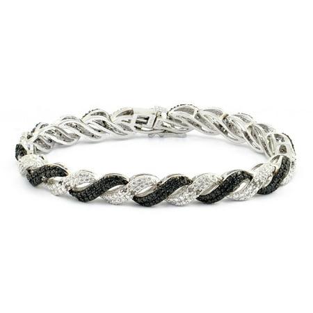 1/2 Carat T.W. Round Black and White Diamond Rhodium-Plated Tennis Bracelet, 7.5