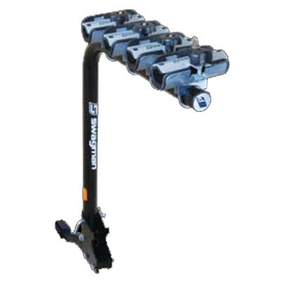 "Swagman XP4 Folding Single Arm Bike Rack Fits 1-1/4"" and 2"" Hitch Receiver For Up to 4 Bikes, Locking Knob Included"