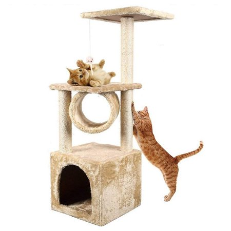 "Zimtown Beige Deluxe 36"" Cat Tree Climb Condo Furniture Play Toy Scratch Post Kitten Pet House"