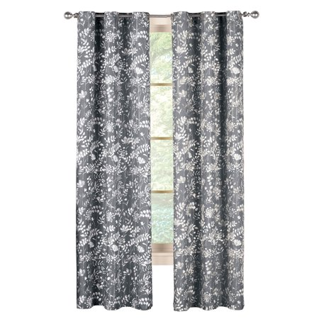 "Modern Botanical Fern Leaf and Lush Floral Grommet Top Curtain Panel, 84"" Panel, Grey"