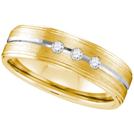 Size - 10 - Solid 10k White and Yellow Two Toned Gold Round White Diamond Men