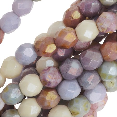 Czech Fire Polished Glass, 4mm Faceted Round Beads, 50 Pcs, Opaque Luster -