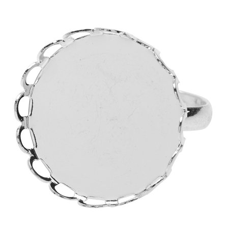 Adjustable Bezel Ring, Round 20.5mm, 4 Pieces, Bright Silver Tone