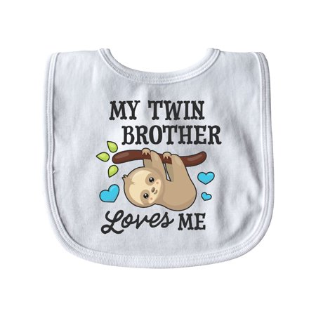 My Twin Brother Loves Me with Sloth and Hearts Baby Bib White   One