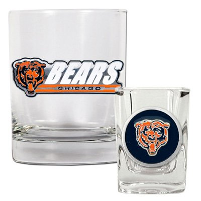 Great American NFL Rocks and Shot Glass Set - Chicago Bears