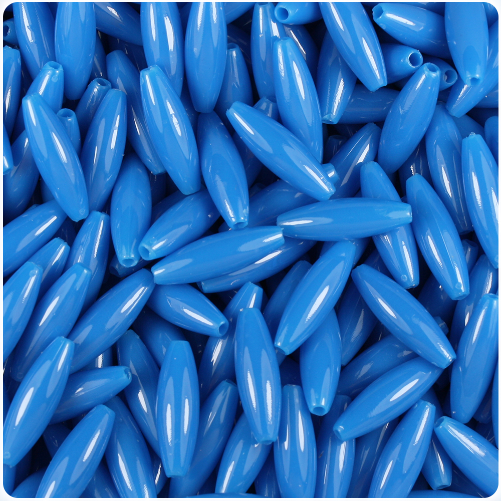 Blue Spaghetti Craft Beads 19x6mm 200pc Made in the USA