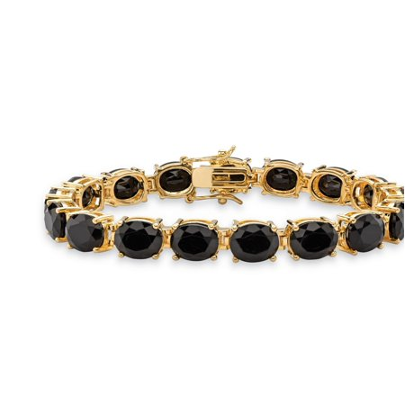 Oval-Cut Genuine Faceted Black Onyx Tennis Bracelet 14k Gold-Plated with Box Clasp 7.5""